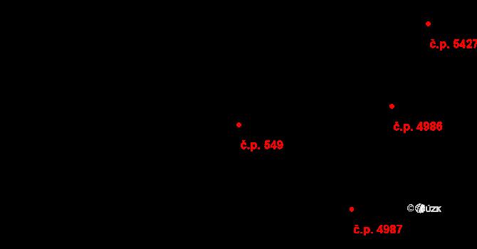 Zlín 549 na parcele st. 554/2 v KÚ Zlín, Katastrální mapa