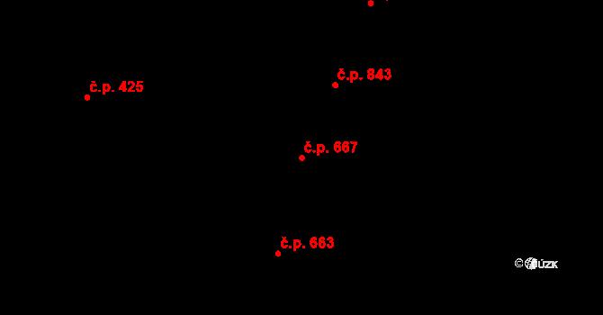 Nivnice 667 na parcele st. 2073 v KÚ Nivnice, Katastrální mapa