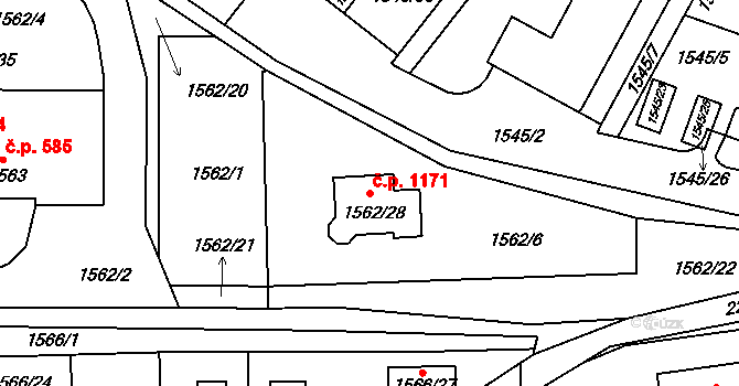 Liberec VI-Rochlice 1171, Liberec na parcele st. 1562/28 v KÚ Rochlice u Liberce, Katastrální mapa