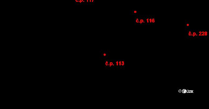 Trnová 113, Pardubice na parcele st. 252 v KÚ Trnová, Katastrální mapa