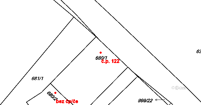 Klikov 122, Suchdol nad Lužnicí na parcele st. 680/1 v KÚ Klikov, Katastrální mapa