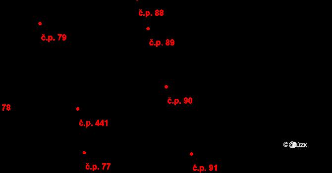 Nemilany 90, Olomouc na parcele st. 220/1 v KÚ Nemilany, Katastrální mapa