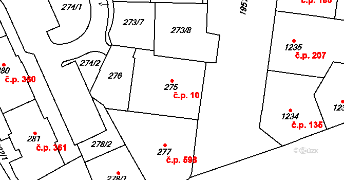 Vysočany 10, Praha na parcele st. 275 v KÚ Vysočany, Katastrální mapa