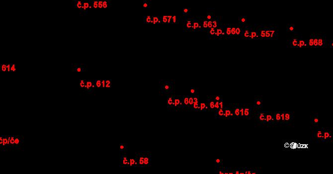 Velké Pavlovice 603 na parcele st. 964 v KÚ Velké Pavlovice, Katastrální mapa