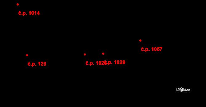 Lhotka 1028, Praha na parcele st. 840/12 v KÚ Lhotka, Katastrální mapa