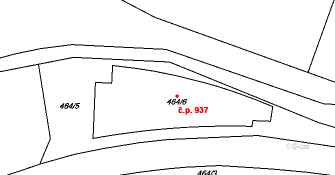 Vysočany 937, Praha na parcele st. 464/6 v KÚ Vysočany, Katastrální mapa