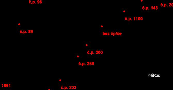Újezd u Brna 260 na parcele st. 206 v KÚ Újezd u Brna, Katastrální mapa