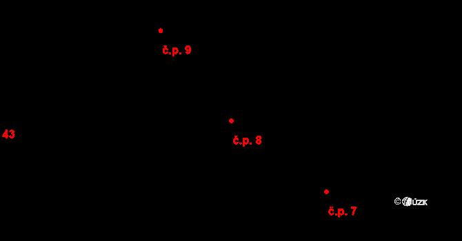 Sedlejov 8 na parcele st. 8 v KÚ Sedlejov, Katastrální mapa