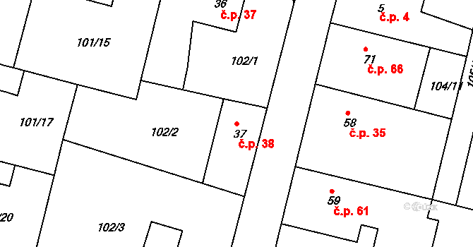 Malšova Lhota 38, Hradec Králové na parcele st. 37 v KÚ Malšova Lhota, Katastrální mapa