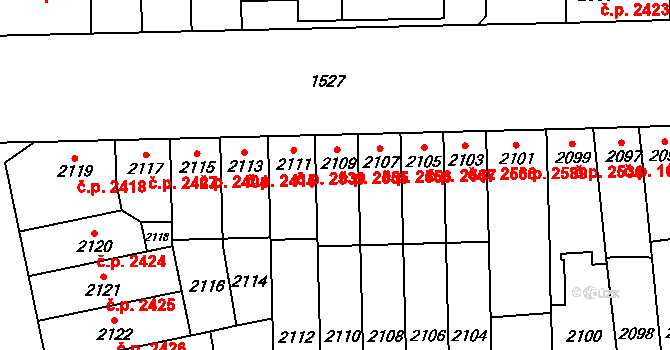 Židenice 2555, Brno na parcele st. 2109 v KÚ Židenice, Katastrální mapa