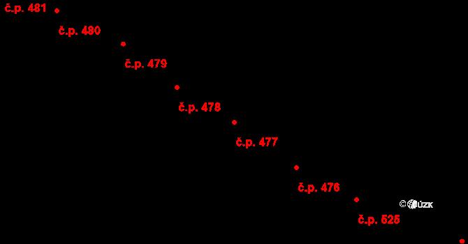 Slavonice 477 na parcele st. 64 v KÚ Slavonice, Katastrální mapa