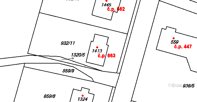 Hejnice 663 na parcele st. 1413 v KÚ Hejnice, Katastrální mapa