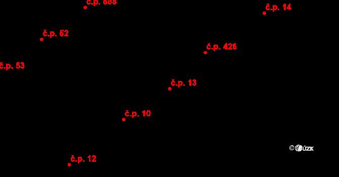 Horka nad Moravou 13 na parcele st. 810 v KÚ Horka nad Moravou, Katastrální mapa