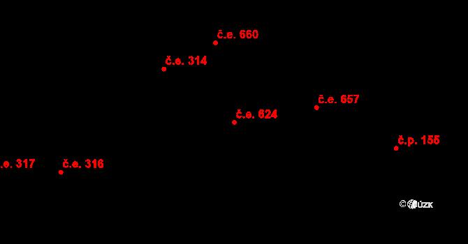 Lety 624 na parcele st. 1421 v KÚ Lety u Dobřichovic, Katastrální mapa