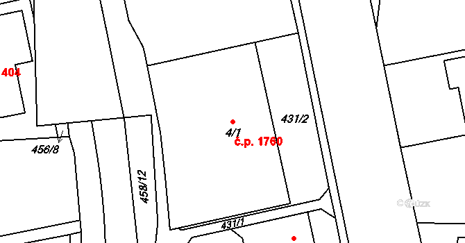 Nový Hradec Králové 1760, Hradec Králové na parcele st. 4/1 v KÚ Nový Hradec Králové, Katastrální mapa