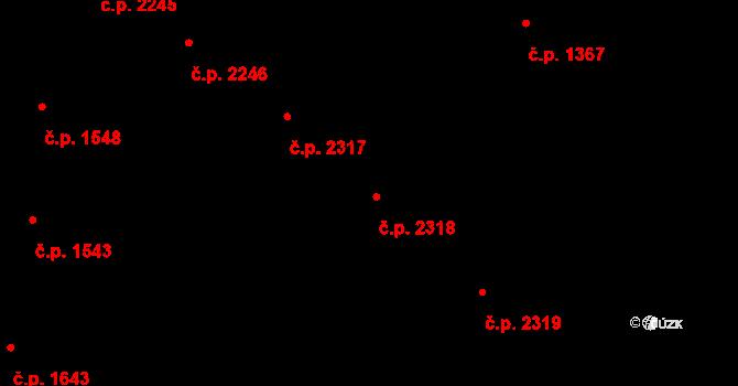 Teplice 2318 na parcele st. 1534/2 v KÚ Teplice, Katastrální mapa