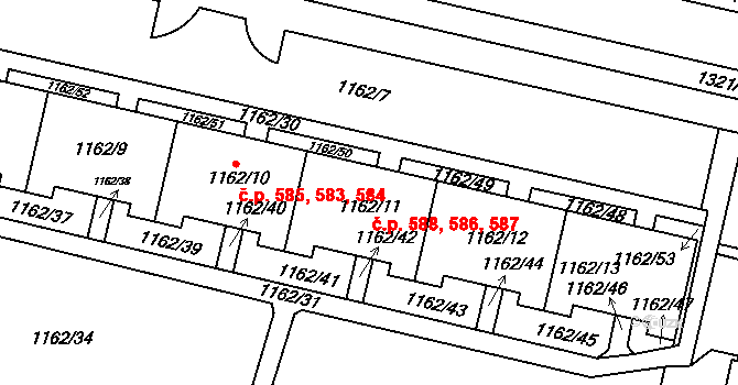 Troja 586,587,588, Praha na parcele st. 1162/11 v KÚ Troja, Katastrální mapa