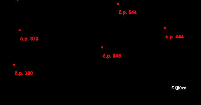 Slavonín 545, Olomouc na parcele st. 555/6 v KÚ Slavonín, Katastrální mapa