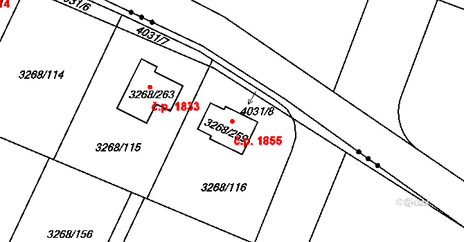 Úvaly 1855 na parcele st. 3268/259 v KÚ Úvaly u Prahy, Katastrální mapa