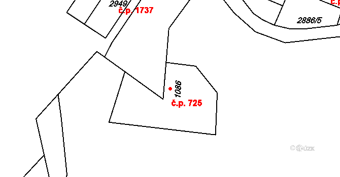 Stříbro 725 na parcele st. 1086 v KÚ Stříbro, Katastrální mapa