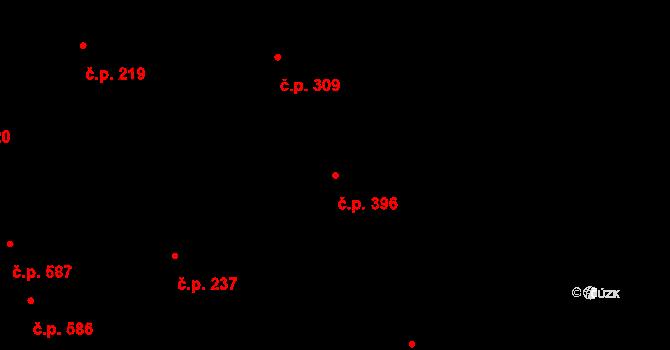 Mladcová 396, Zlín na parcele st. 844 v KÚ Mladcová, Katastrální mapa