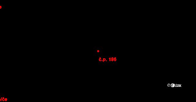 Kožichovice 186 na parcele st. 219 v KÚ Kožichovice, Katastrální mapa