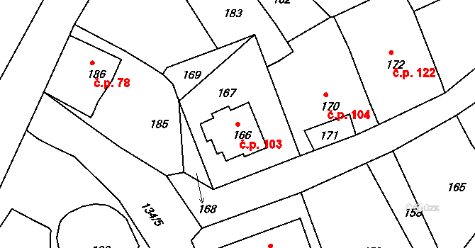 Olšová Vrata 103, Karlovy Vary na parcele st. 166 v KÚ Olšová Vrata, Katastrální mapa