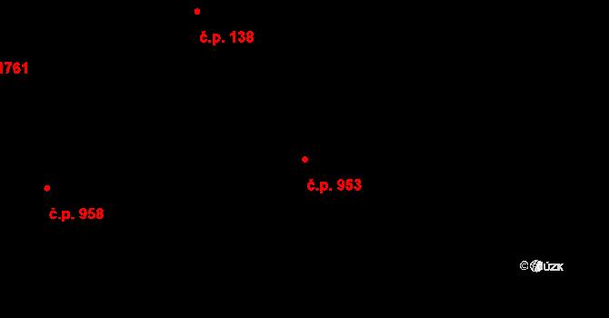 Zlín 953 na parcele st. 1564 v KÚ Zlín, Katastrální mapa