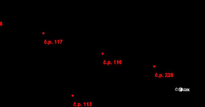 Trnová 116, Pardubice na parcele st. 244 v KÚ Trnová, Katastrální mapa