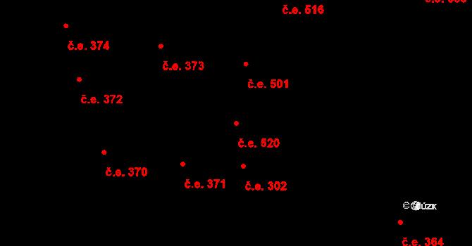 Lety 520 na parcele st. 1556 v KÚ Lety u Dobřichovic, Katastrální mapa