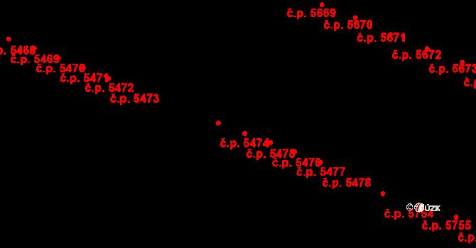 Jihlava 5474 na parcele st. 5706/606 v KÚ Jihlava, Katastrální mapa