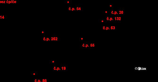 Vlkoš 55 na parcele st. 122 v KÚ Vlkoš u Přerova, Katastrální mapa