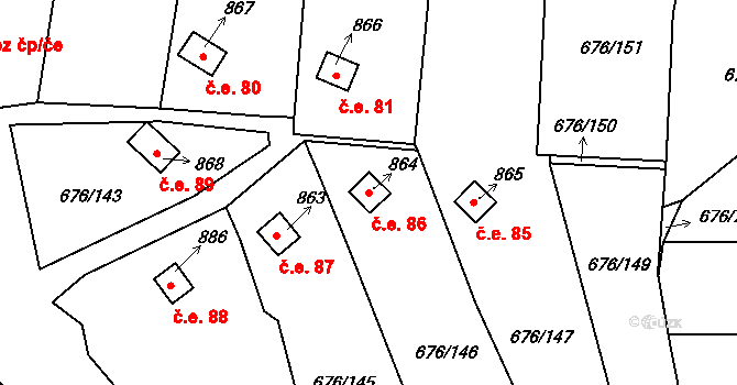 Prštné 86, Zlín na parcele st. 864 v KÚ Prštné, Katastrální mapa