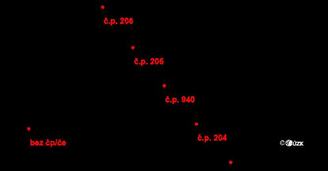 Veveří 940, Brno na parcele st. 432 v KÚ Veveří, Katastrální mapa