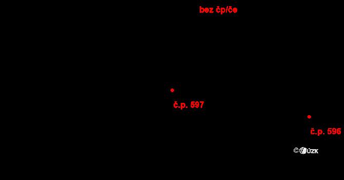 Místek 597, Frýdek-Místek na parcele st. 1315/1 v KÚ Místek, Katastrální mapa