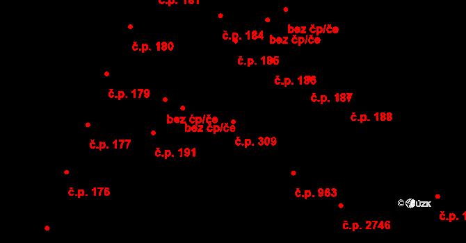 Česká Lípa 309 na parcele st. 309/1 v KÚ Česká Lípa, Katastrální mapa
