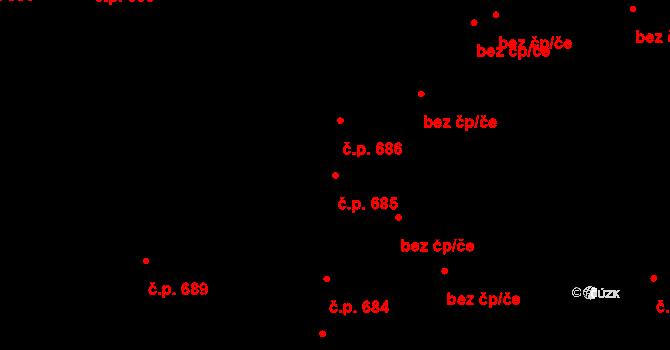 Svítkov 685, Pardubice na parcele st. 699/1 v KÚ Svítkov, Katastrální mapa
