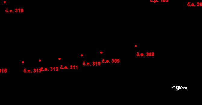 Lety 309 na parcele st. 1423 v KÚ Lety u Dobřichovic, Katastrální mapa
