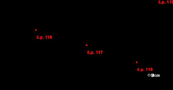 Trnová 117, Pardubice na parcele st. 245 v KÚ Trnová, Katastrální mapa