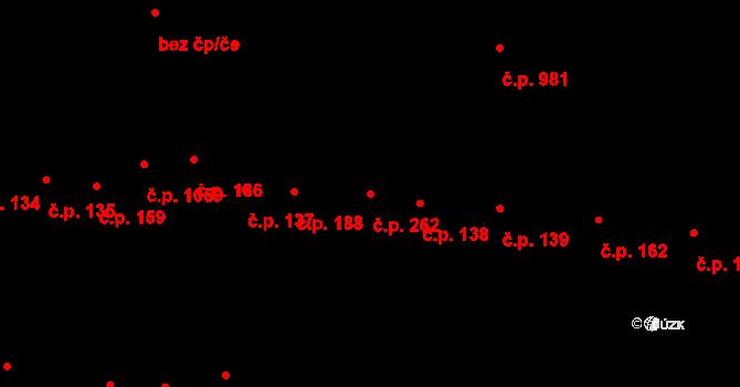 Újezd u Brna 262 na parcele st. 1733 v KÚ Újezd u Brna, Katastrální mapa