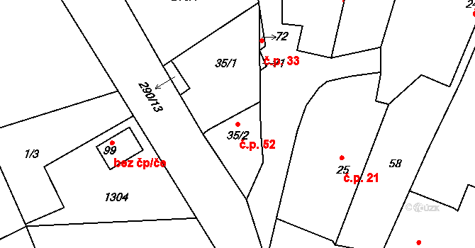 Časy 52 na parcele st. 35/2 v KÚ Časy, Katastrální mapa