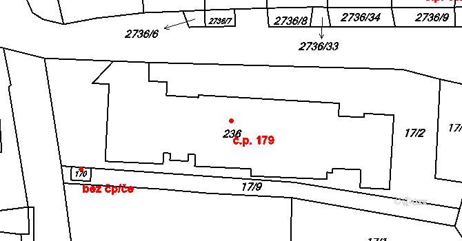 Plavsko 179 na parcele st. 236 v KÚ Plavsko, Katastrální mapa