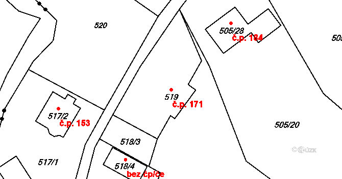 Liberec XX-Ostašov 171, Liberec na parcele st. 519 v KÚ Ostašov u Liberce, Katastrální mapa