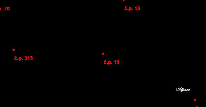 Bernartice nad Odrou 12 na parcele st. 547 v KÚ Bernartice nad Odrou, Katastrální mapa