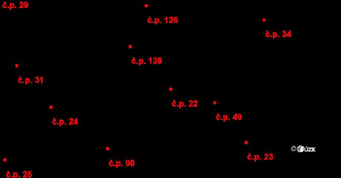 Lípa 22 na parcele st. 73 v KÚ Lípa nad Dřevnicí, Katastrální mapa