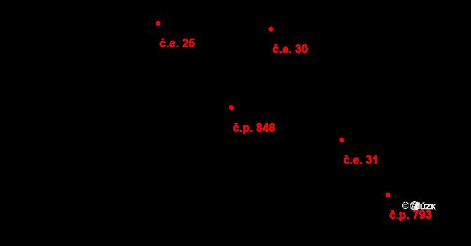 Ostravice 848 na parcele st. 2036 v KÚ Ostravice 1, Katastrální mapa