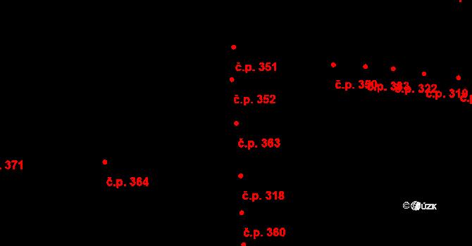 Újezd u Brna 363 na parcele st. 1176 v KÚ Újezd u Brna, Katastrální mapa