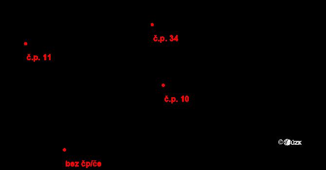 Tojice 10 na parcele st. 10 v KÚ Tojice, Katastrální mapa