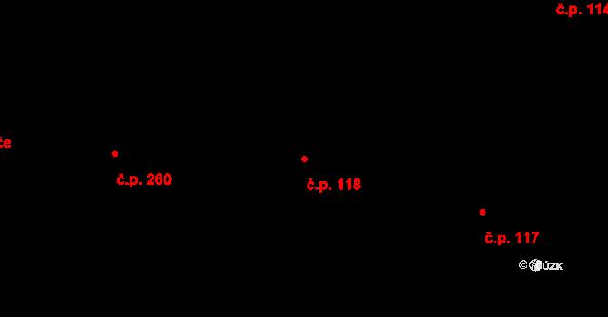 Trnová 118, Pardubice na parcele st. 251 v KÚ Trnová, Katastrální mapa