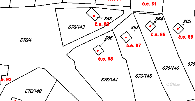 Prštné 88, Zlín na parcele st. 886 v KÚ Prštné, Katastrální mapa